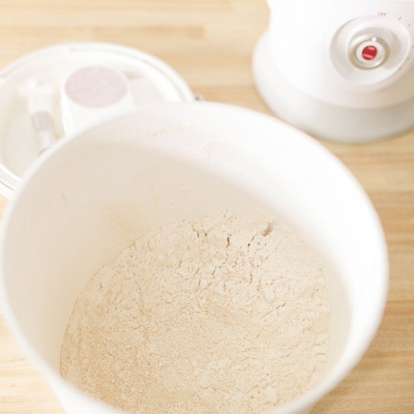 flour in the nutrimill plus grain mill canister