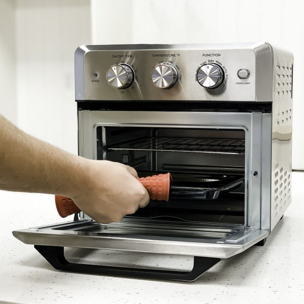 smart air oven open removing oven tray