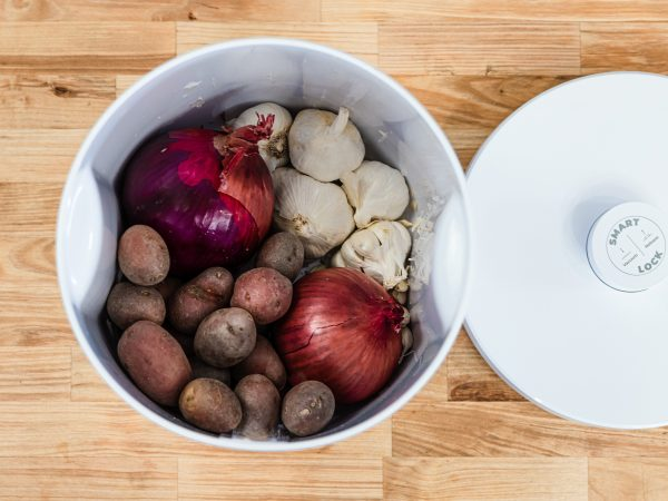 Garlic Onions and potatoes in the NutriMill Vacuum Seal container
