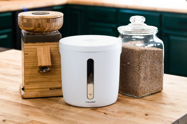 Store fresh ground grain in the NutriMill vacuum seal container