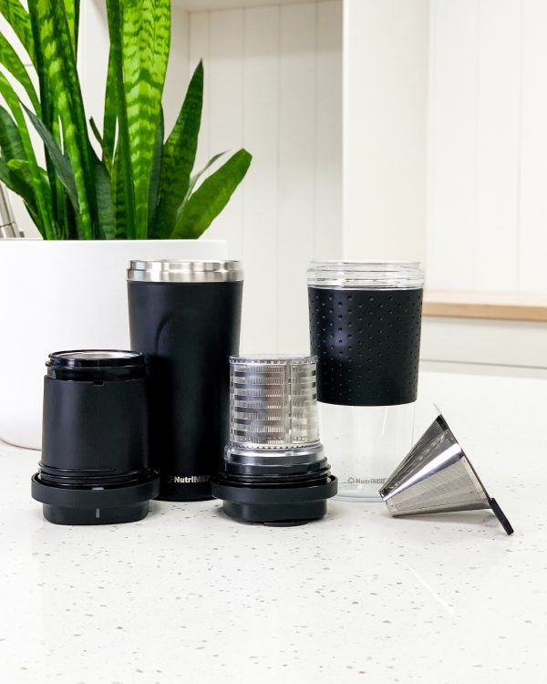 Smart Blend Items | thermos, cup, coffee filter, tea filter, blender, clear cup with rubber grip